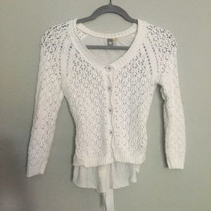 Anthropologie crochet white cropped cardigan